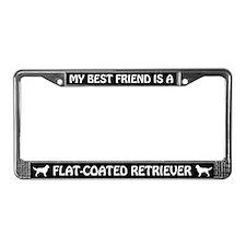 Best Friend Is Flat-Coated Retriever License Frame