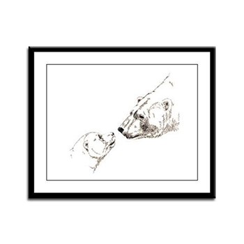 Polar Bear & Cub Art Framed Panel Print