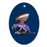 Dragon on Cliff Oval Ornament