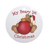 Beary 1st Christmas Ornament (Round)