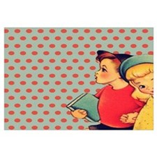 vintage polka dots retro kids