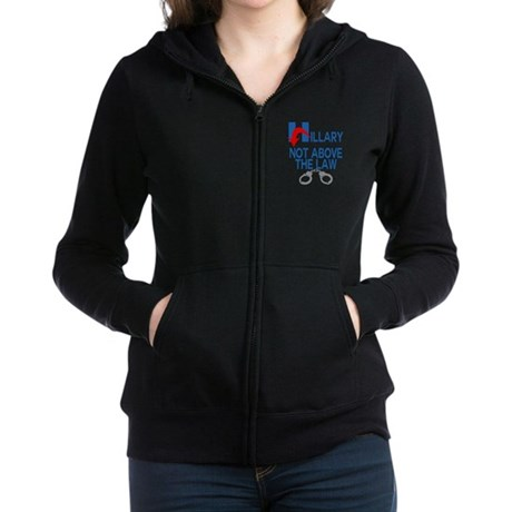 ANTI HILLARY Not Above the law Women's Zip Hoodie