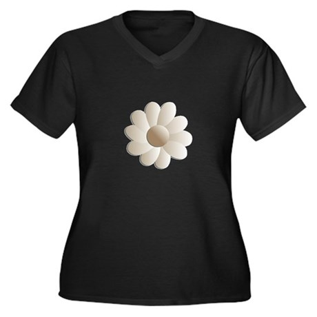 Pretty Daisy Women's Plus Size V-Neck Dark T-Shirt