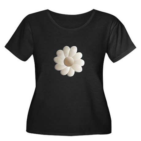Pretty Daisy Women's Plus Size Scoop Neck Dark T-S