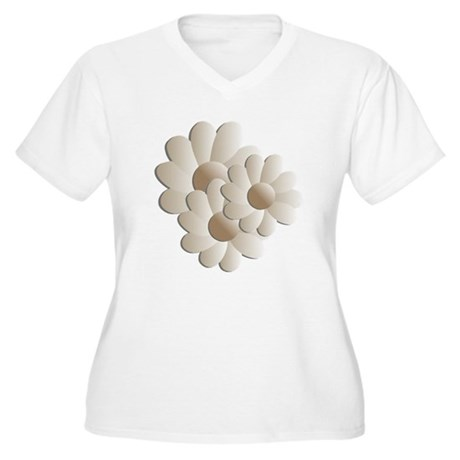 Daisy Trio - Sand Women's Plus Size V-Neck T-Shirt