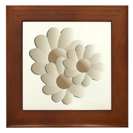 Daisy Trio - Sand Framed Tile