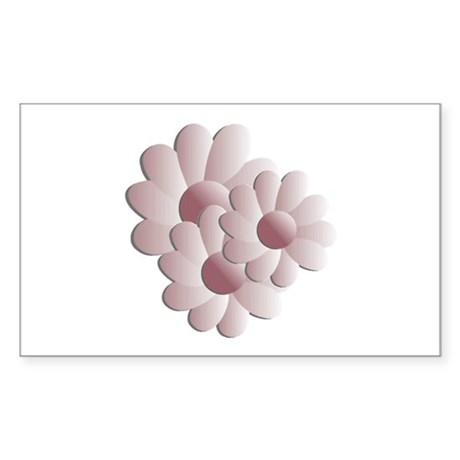 Pretty Daisy Trio - Pink Rectangle Sticker
