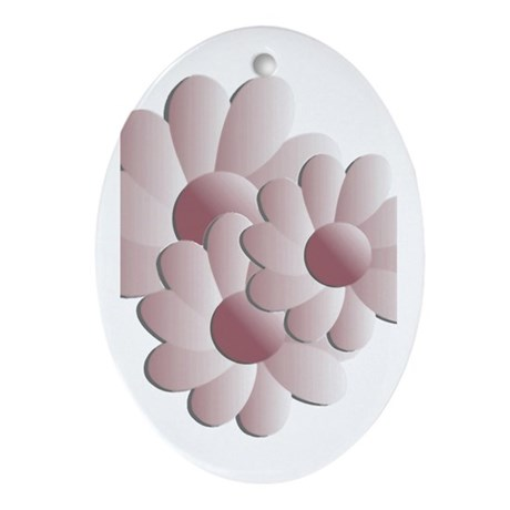 Pretty Daisy Trio - Pink Oval Ornament