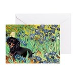 Irises & Dachshund (BT4) Greeting Card