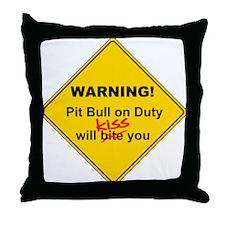 Pit Bull will KISS! Throw Pillow