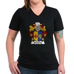 Azcarate Family Crest Women's V-Neck Dark T-Shirt