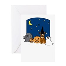 Red Cattle Dog Halloween Greeting Card