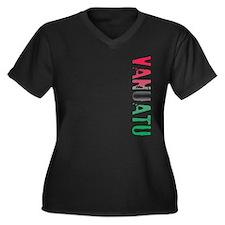 Vanuatu Women's Plus Size V-Neck Dark T-Shirt