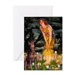 Fairies & Red Doberman Greeting Card