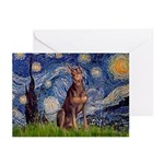Starry / Red Doberman Greeting Cards (Pk of 20)