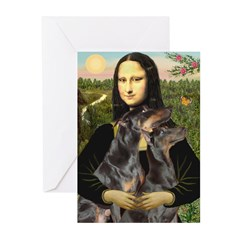 Mona's 2 Dobies Greeting Cards (Pk of 20)