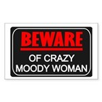 Scott Designs Beware of Crazy Women Sticker (Recta