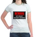 Scott Designs Beware of Crazy Women Jr. Ringer T-S