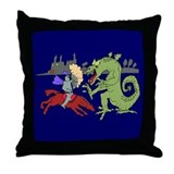 Fighting the Dragon Throw Pillow