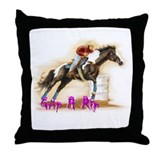 Grip & Rip, Barrel racer Throw Pillow