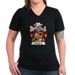 Abascal Family Crest Women's V-Neck Dark T-Shirt