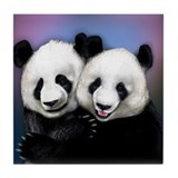 PANDA BEARS hugging Tile Coaster