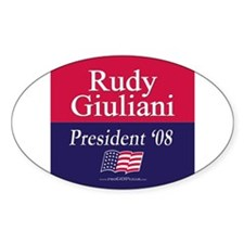 """""""Rudy Giuliani for President"""" Oval Decal"""