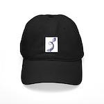 Blue Calligraphic Dragon Black Cap