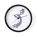Blue Calligraphic Dragon Wall Clock