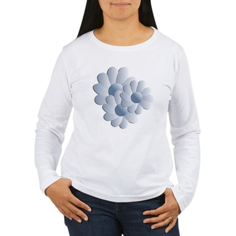 Pretty Daisy Trio - Blue Women's Long Sleeve T-Shi