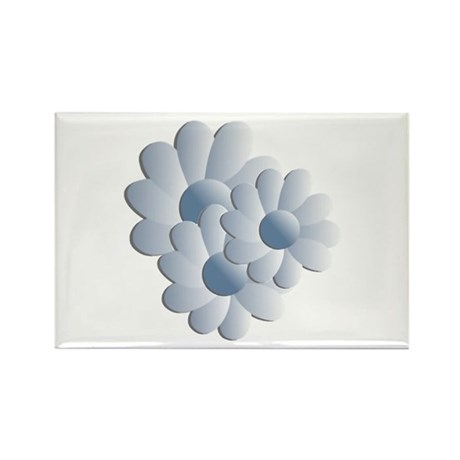 Pretty Daisy Trio - Blue Rectangle Magnet