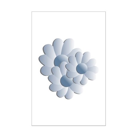Pretty Daisy Trio - Blue Mini Poster Print