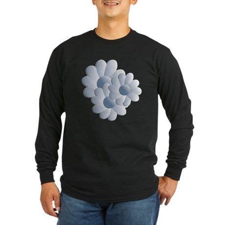 Pretty Daisy Trio - Blue Long Sleeve Dark T-Shirt