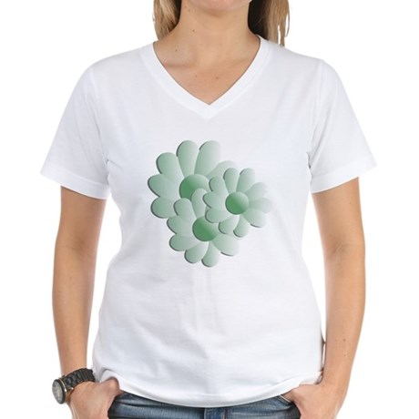 Pretty Daisy Trio - Green Women's V-Neck T-Shirt