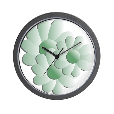 Pretty Daisy Trio - Green Wall Clock