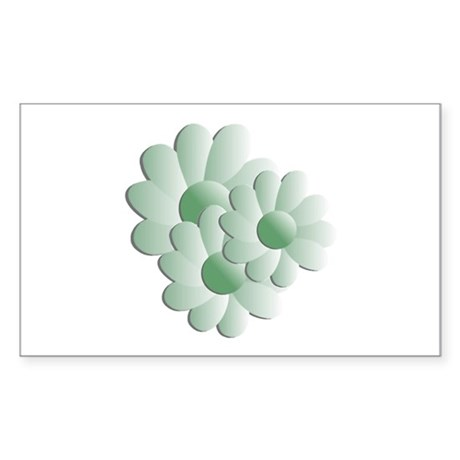 Pretty Daisy Trio - Green Rectangle Sticker