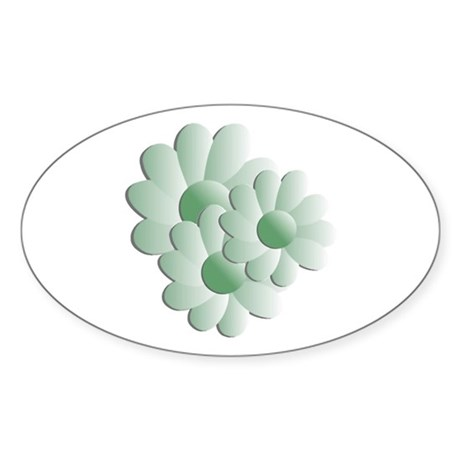 Pretty Daisy Trio - Green Oval Sticker