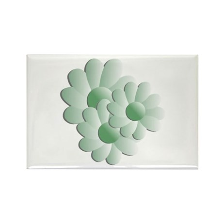 Pretty Daisy Trio - Green Rectangle Magnet (10 pac
