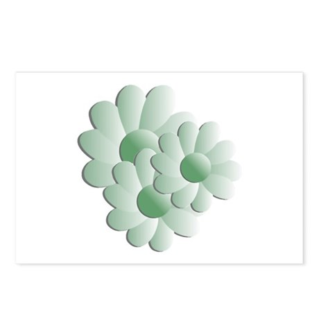 Pretty Daisy Trio - Green Postcards (Package of 8)