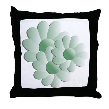 Pretty Daisy Trio - Green Throw Pillow