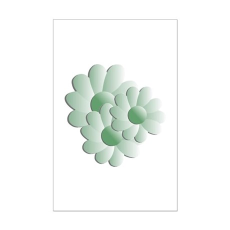 Pretty Daisy Trio - Green Mini Poster Print