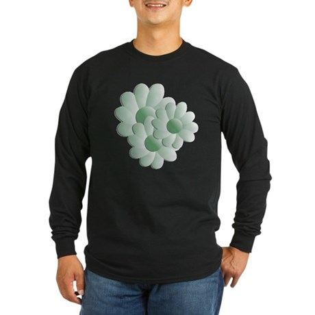 Pretty Daisy Trio - Green Long Sleeve Dark T-Shirt