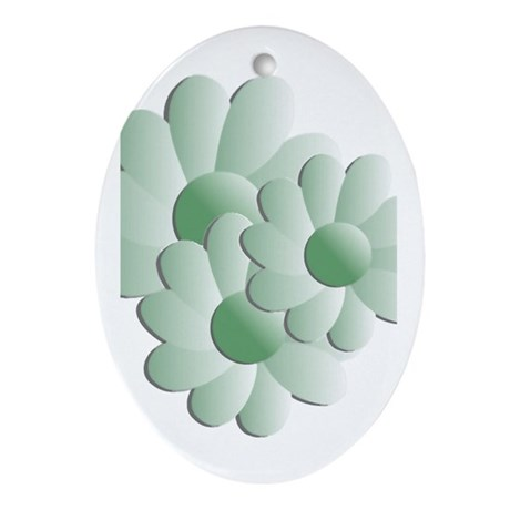 Pretty Daisy Trio - Green Oval Ornament