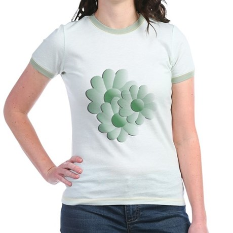 Pretty Daisy Trio - Green Jr. Ringer T-Shirt