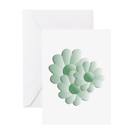 Pretty Daisy Trio - Green Greeting Card