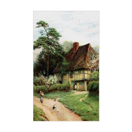English Country Cottage Rectangle Sticker