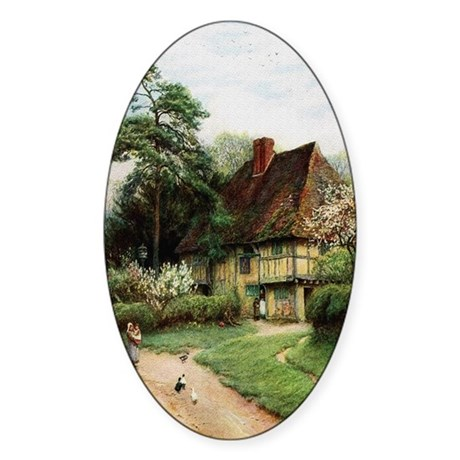 English Country Cottage Oval Sticker