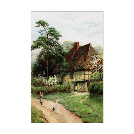 English Country Cottage Mini Poster Print