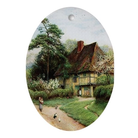 English Country Cottage Oval Ornament