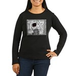 Mouse Error Cartoon Women's Long Sleeve Dark T-Shi